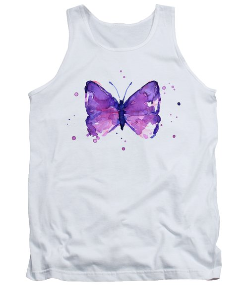 Abstract Purple Butterfly Watercolor Tank Top