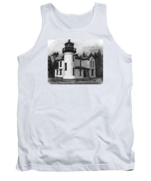 Admiralty Head Lighthouse Sketched Tank Top by Kirt Tisdale