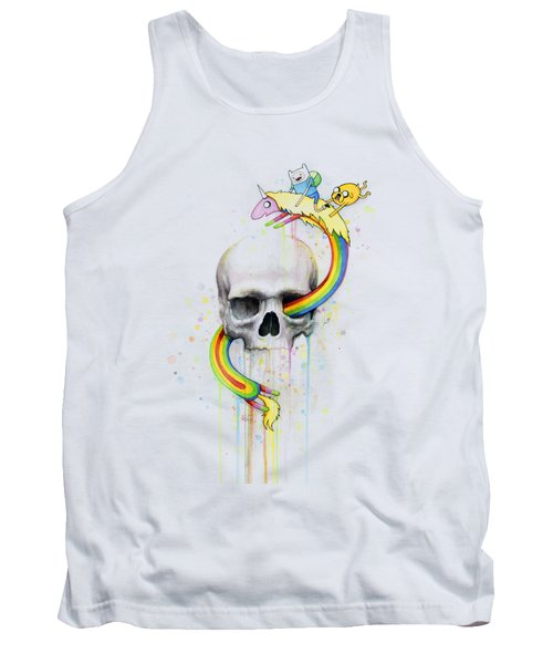 Adventure Time Skull Jake Finn Lady Rainicorn Watercolor Tank Top
