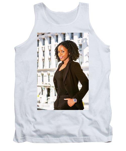 African American Businesswoman Working In New York Tank Top