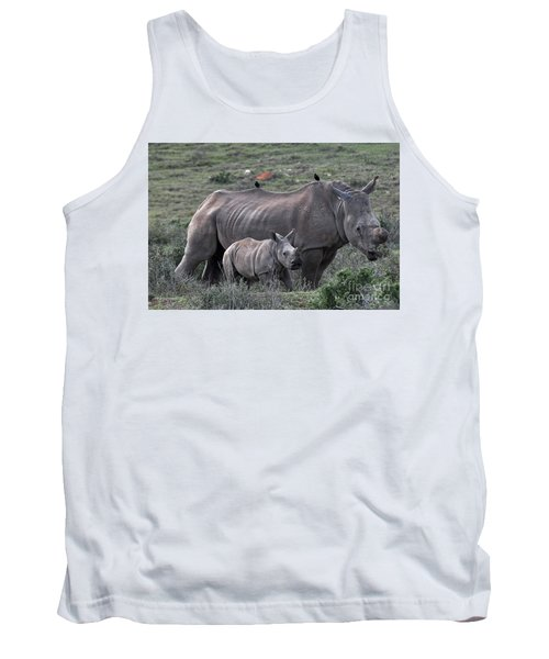 African White Rhino And Calf Tank Top