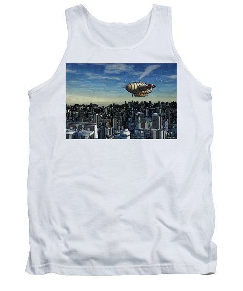 Airship Over Future City Tank Top by Ken Morris