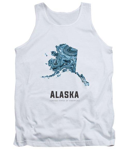 Alaska Map Art Abstract In Blue Tank Top