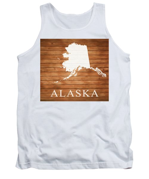 Alaska Rustic Map On Wood Tank Top