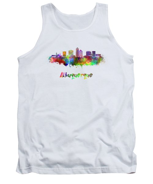 Albuquerque Skyline In Watercolor Splatters With Clipping Path Tank Top