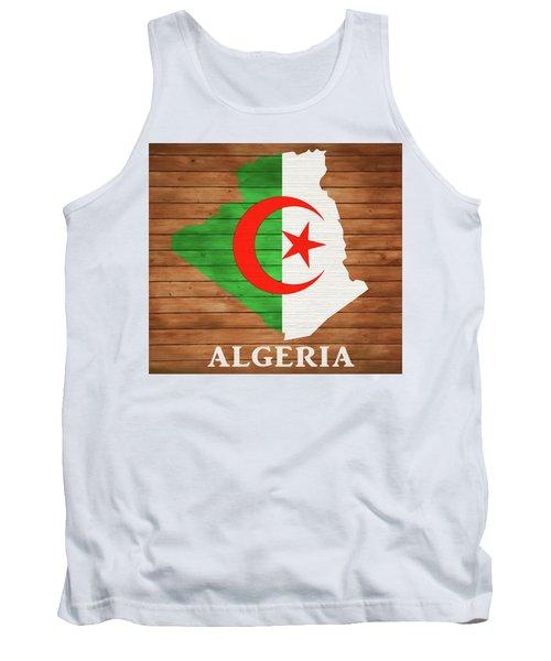 Algeria Rustic Map On Wood Tank Top