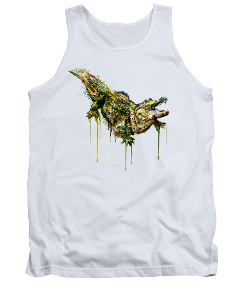 Alligator Watercolor Painting Tank Top by Marian Voicu