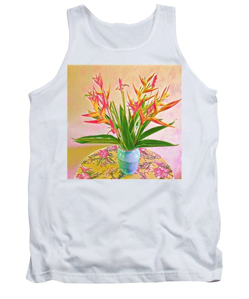 Aloha Bouquet Of The Day Halyconia And Birds In Pink Tank Top