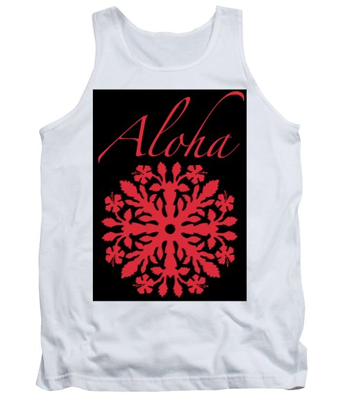 Aloha Red Hibiscus Quilt T-shirt Tank Top by James Temple