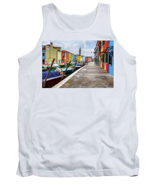 Along The Canal In Burano Island Tank Top