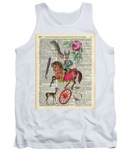 Alphabet Book Illustration Over Old Dictionary Book Page Tank Top