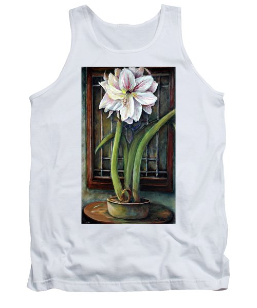 Tank Top featuring the painting Amaryllis In The Window by Bernadette Krupa