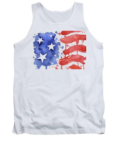 American Flag Watercolor Painting Tank Top