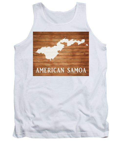 American Samoa Rustic Map On Wood Tank Top