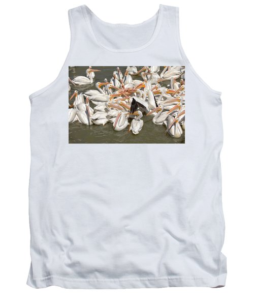 American White Pelicans Tank Top by Eunice Gibb