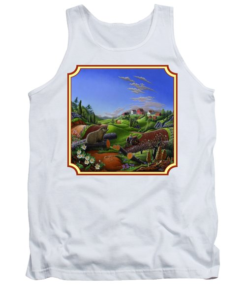 Americana Decor - Springtime On The Farm Country Life Landscape - Square Format Tank Top