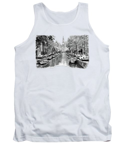 Amsterdam Canal 2 Black And White Tank Top