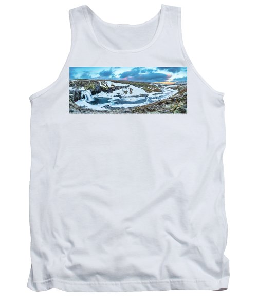 An Icy Waterfall Panorama During Sunrise In Iceland Tank Top