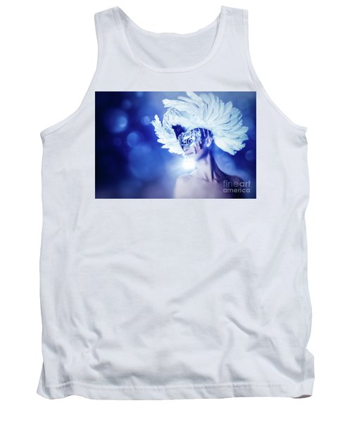 Tank Top featuring the photograph Angel Wings Venetian Mask With Feathers Portrait by Dimitar Hristov