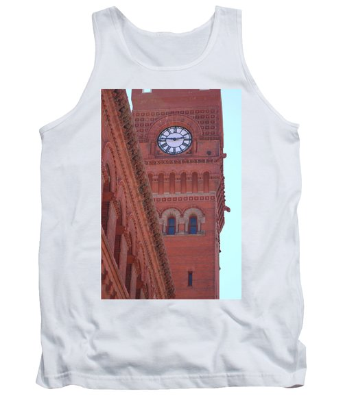 Angled View Of Clocktower At Dearborn Station Chicago Tank Top