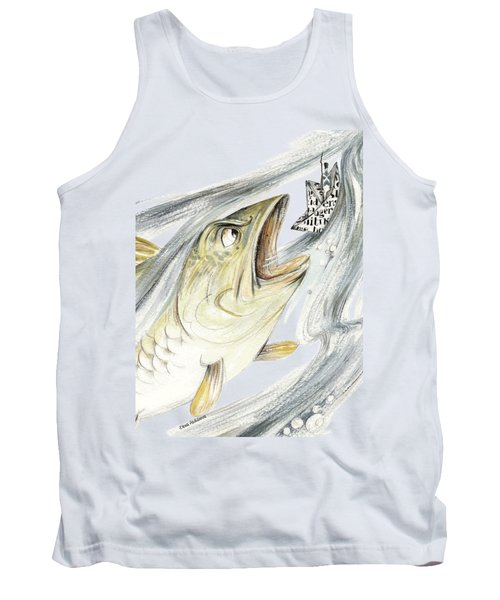 Angry Fish Ready To Swallow Tin Soldier's Paper Boat - Horizontal - Fairy Tale Illustration Fragment Tank Top