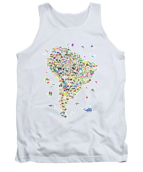 Animal Map Of South America For Children And Kids Tank Top