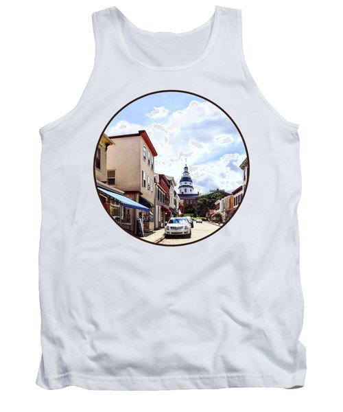 Annapolis Md - Shops On Maryland Avenue And Maryland State House Tank Top