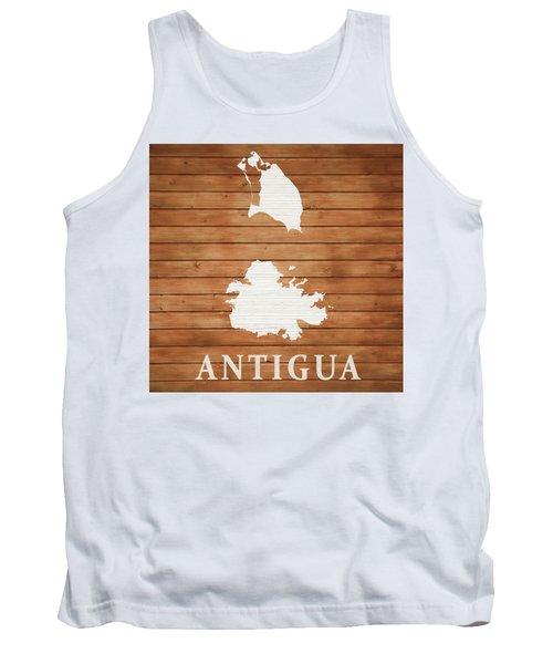 Antigua Rustic Map On Wood Tank Top