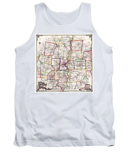 Horse Carriage Era Driving Map Of Hartford Connecticut Vicinity 1884 Tank Top by Phil Cardamone