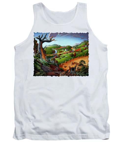 Appalachian Fall Thanksgiving Wheat Field Harvest Farm Landscape Painting - Rural Americana - Autumn Tank Top