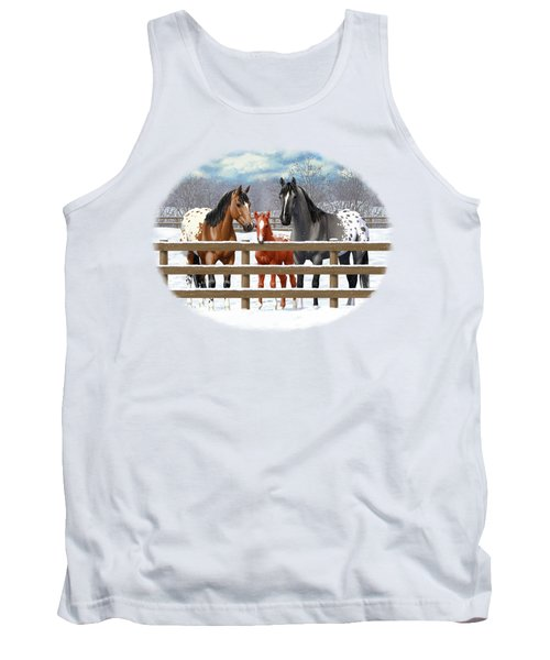 Appaloosa Horses In Winter Ranch Corral Tank Top