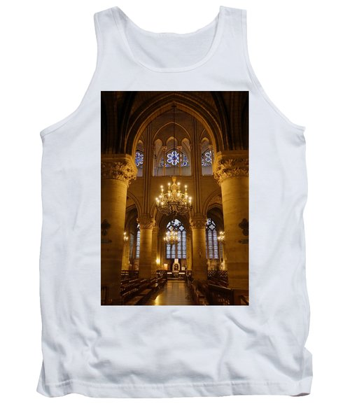 Architectural Artwork Within Notre Dame In Paris France Tank Top by Richard Rosenshein