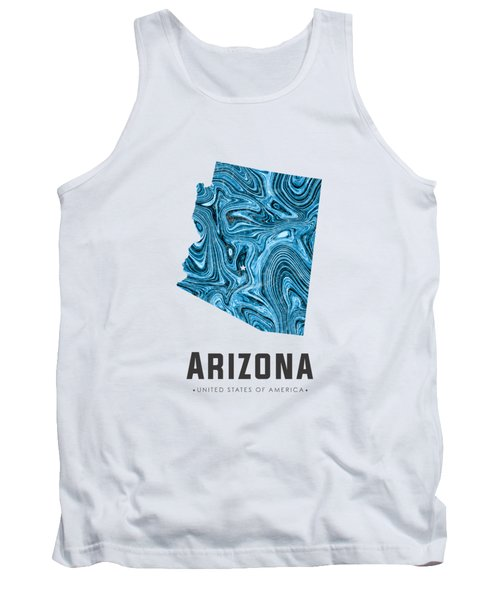 Arizona Map Art Abstract In Blue Tank Top