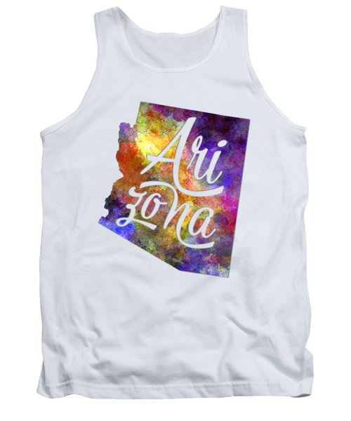 Arizona Us State In Watercolor Text Cut Out Tank Top