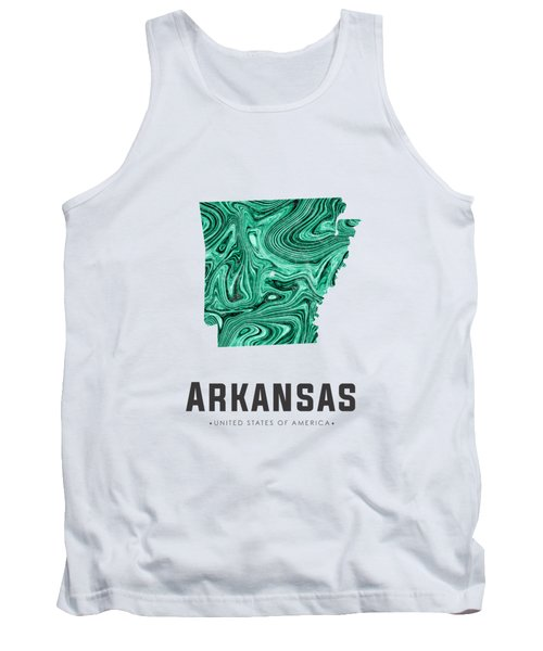 Arkansas Map Art Abstract In Green Tank Top