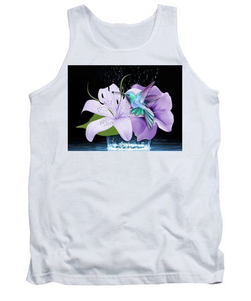 Tank Top featuring the mixed media Arrival Hummingbird by Marvin Blaine