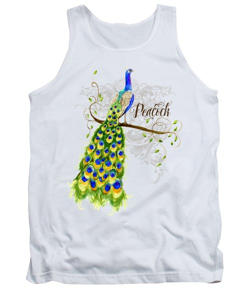 Art Nouveau Peacock W Swirl Tree Branch And Scrolls Tank Top