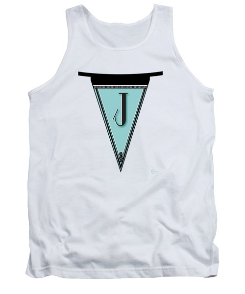 Pennant Deco Blues Banner Initial Letter J Tank Top by Cecely Bloom