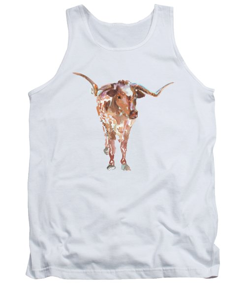The Original Longhorn Standing Earth Quack Watercolor Painting By Kmcelwaine Tank Top