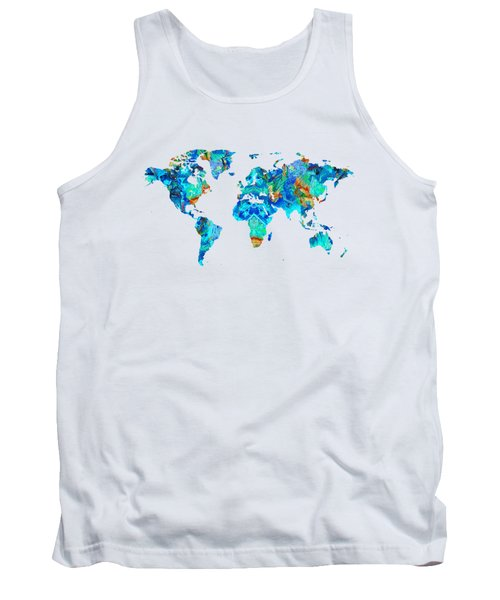 Tank Top featuring the painting World Map 22 Art By Sharon Cummings by Sharon Cummings