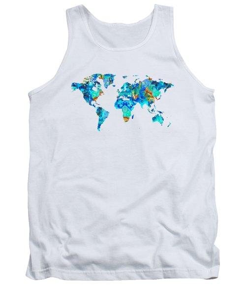 World Map 22 Art By Sharon Cummings Tank Top