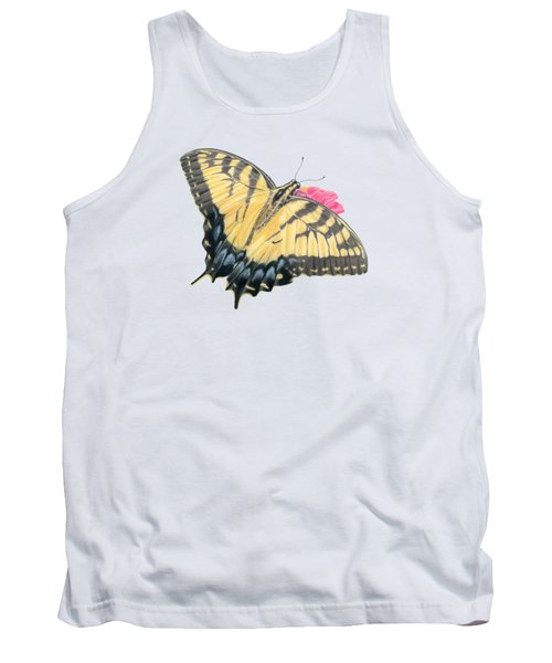 Swallowtail Butterfly And Zinnia- Transparent Backgroud Tank Top