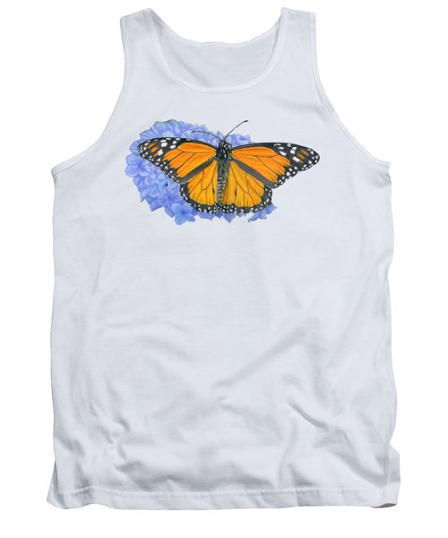 Monarch Butterfly And Hydrangea- Transparent Background Tank Top by Sarah Batalka