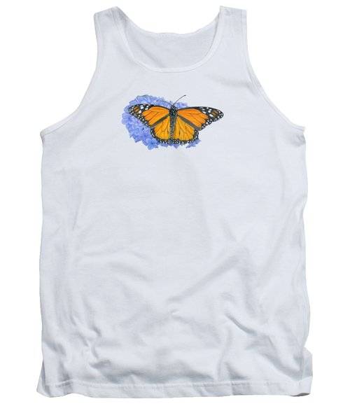 Monarch Butterfly And Hydrangea- Transparent Background Tank Top
