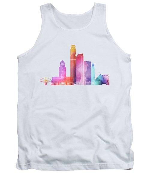 Los Angeles Landmarks Watercolor Poster Tank Top by Pablo Romero