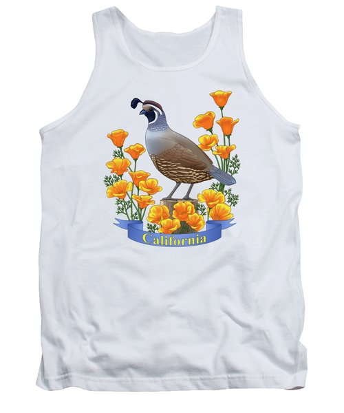 California Quail And Golden Poppies Tank Top