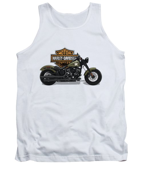 Tank Top featuring the digital art 2017 Harley-davidson Softail Slim S Motorcycle With 3d Badge Over Vintage Background  by Serge Averbukh