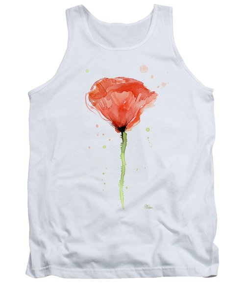 Abstract Red Poppy Watercolor Tank Top