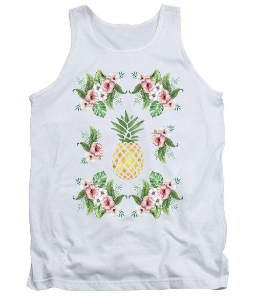 Exotic Hawaiian Flowers And Pineapple Tank Top