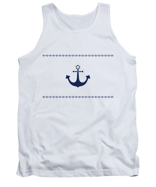 Anchor With Knot Border In Blue Tank Top